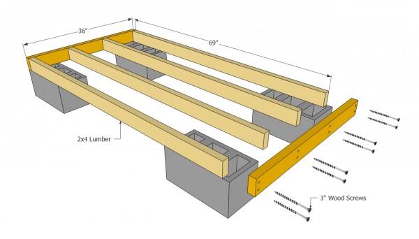 Firewood shed floor frame