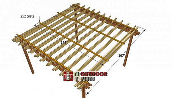 Installing-the-slats-to-square-pergola