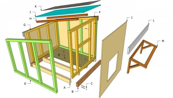 Large dog house components