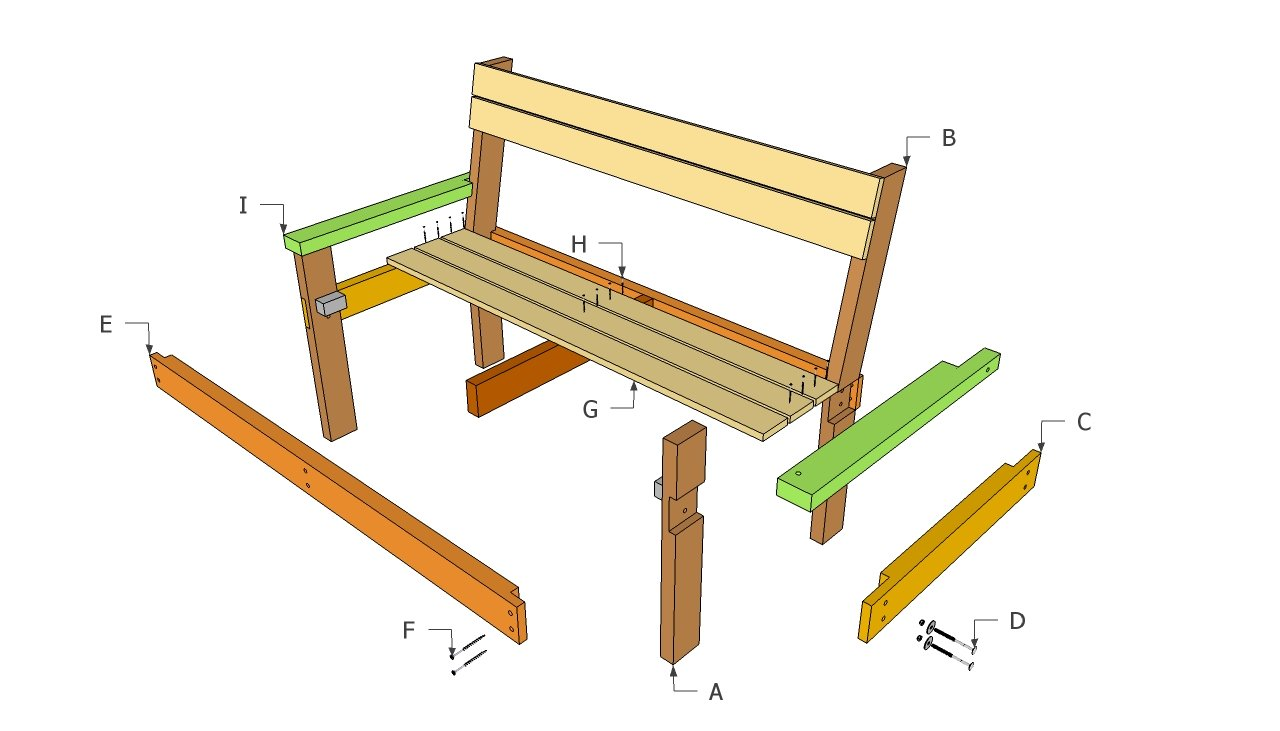 wooden bench with back plans