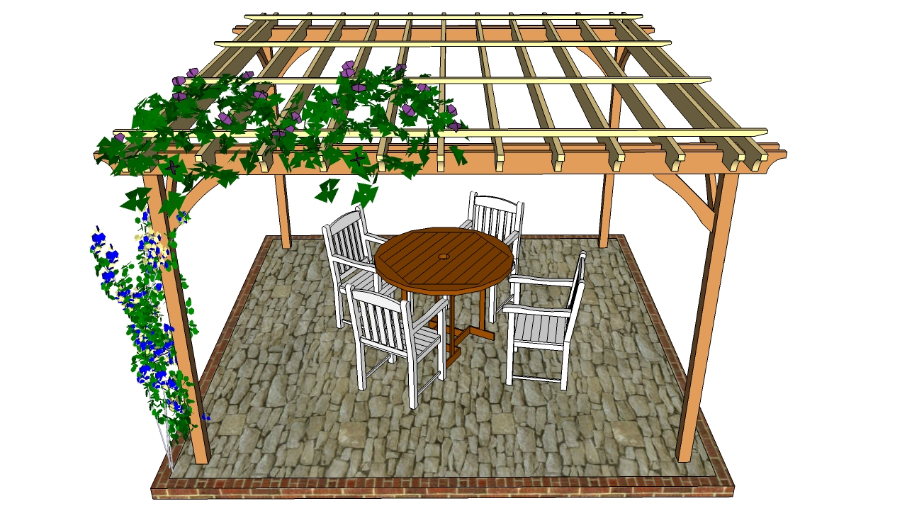 Patio pergola plans - Attached Pergola Plans MyOutdoorPlans Free Woodworking Plans