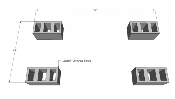 Placing the concrete blocks