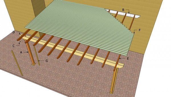 Attached pergola components