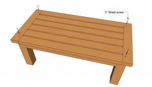 Attaching the top of the patio table