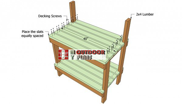 Installing-the-slats-to-the-potting-bench
