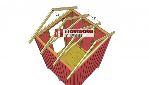 Installing-the-trusses-to-small-shed