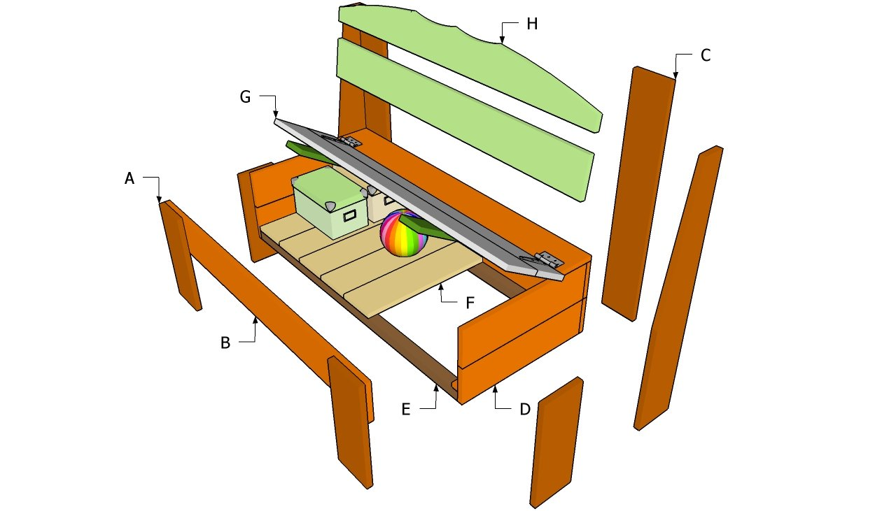 outdoor wood storage bench plans