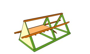 A frame chicke coop handles