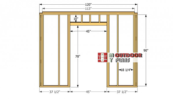 Front-wall-frame---gable-shed