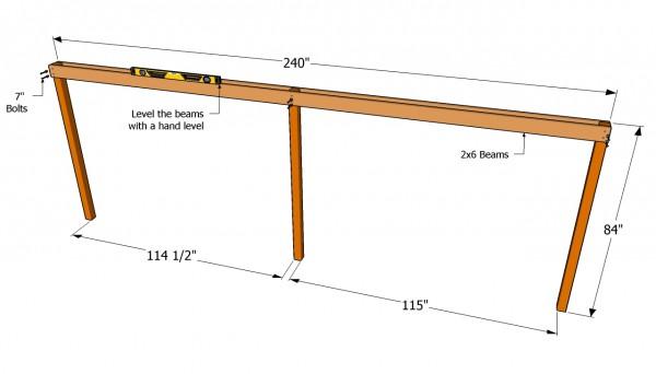 Installing the cross-beams