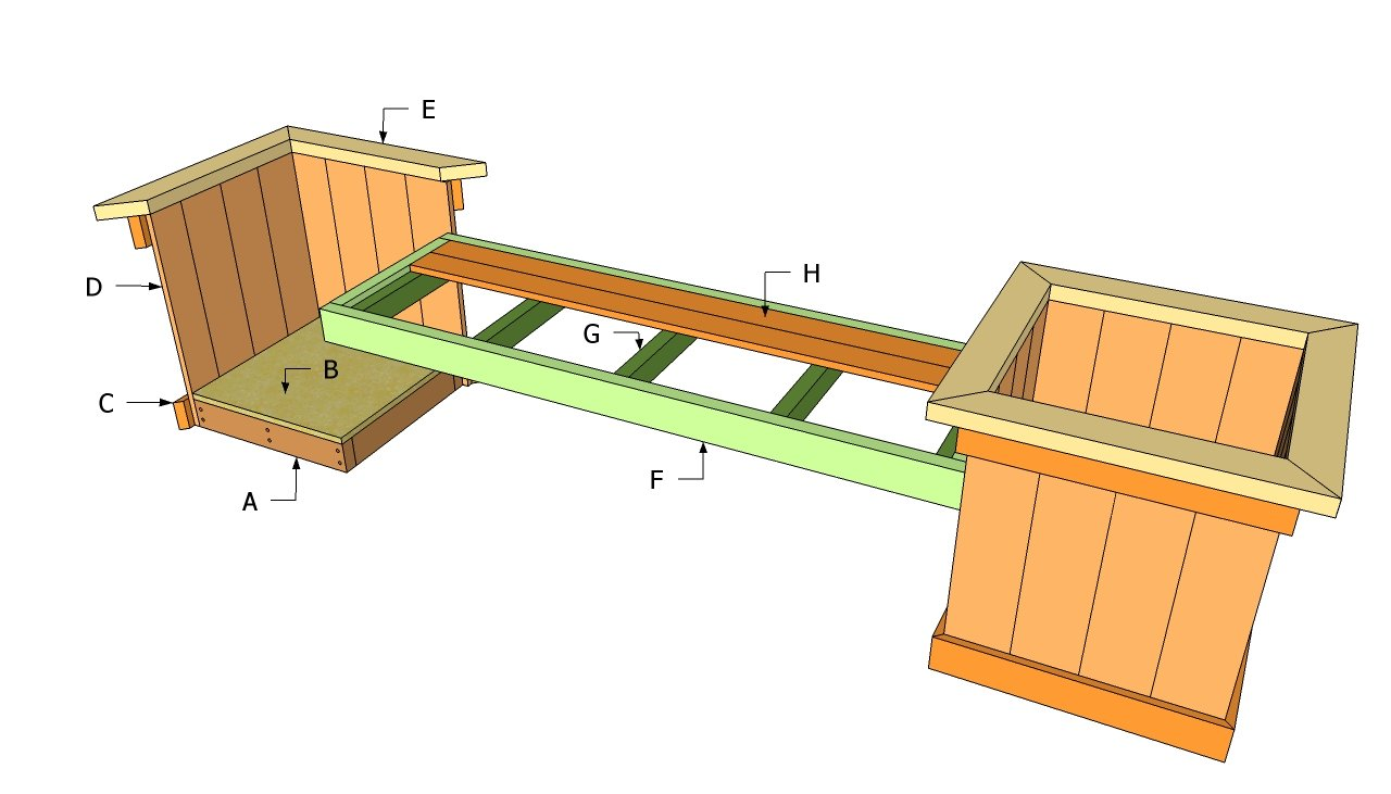 Plans to build a wooden storage bench woodworking for Garden planter plans