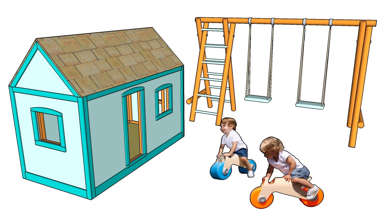 Diy free outdoor wooden playhouse plans plans free for Free playhouse blueprints