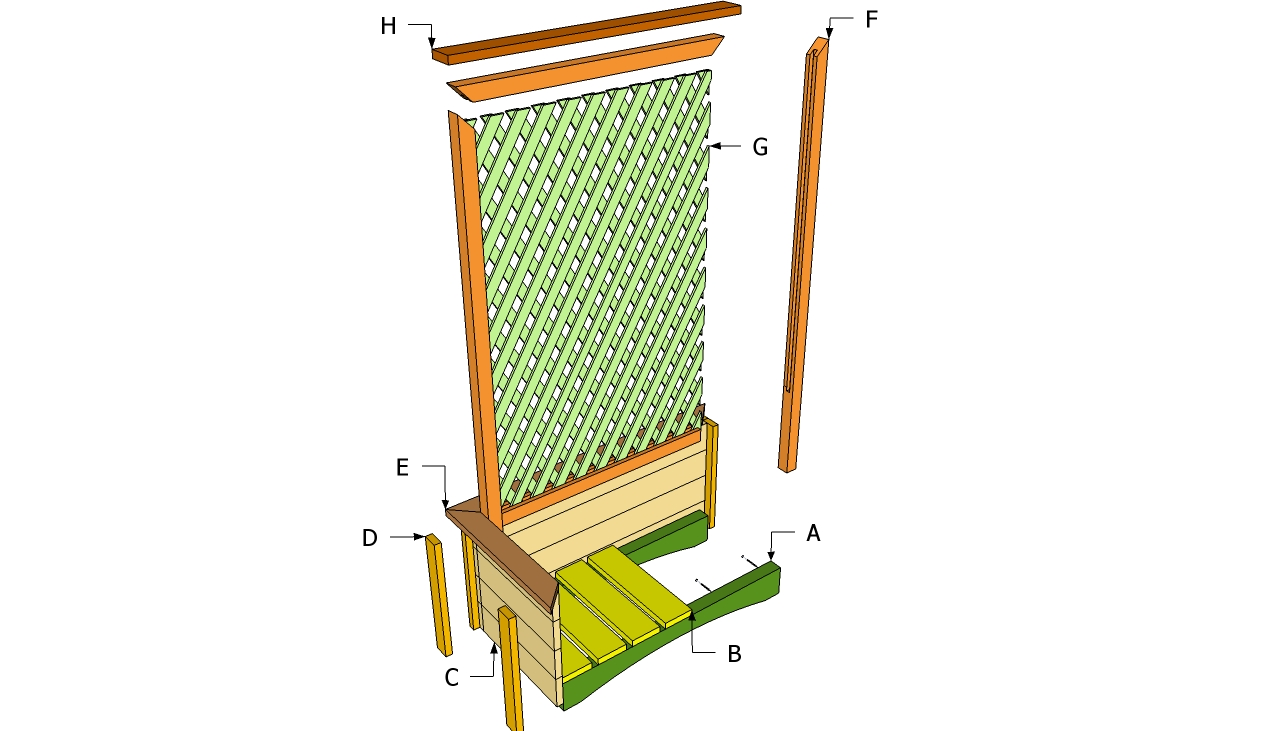 Planter with Trellis Plans DIY Planter Bench Plans How to Build a ...