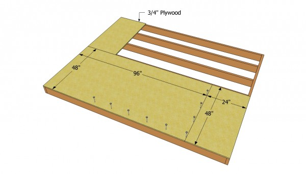 Attaching the plywood floor