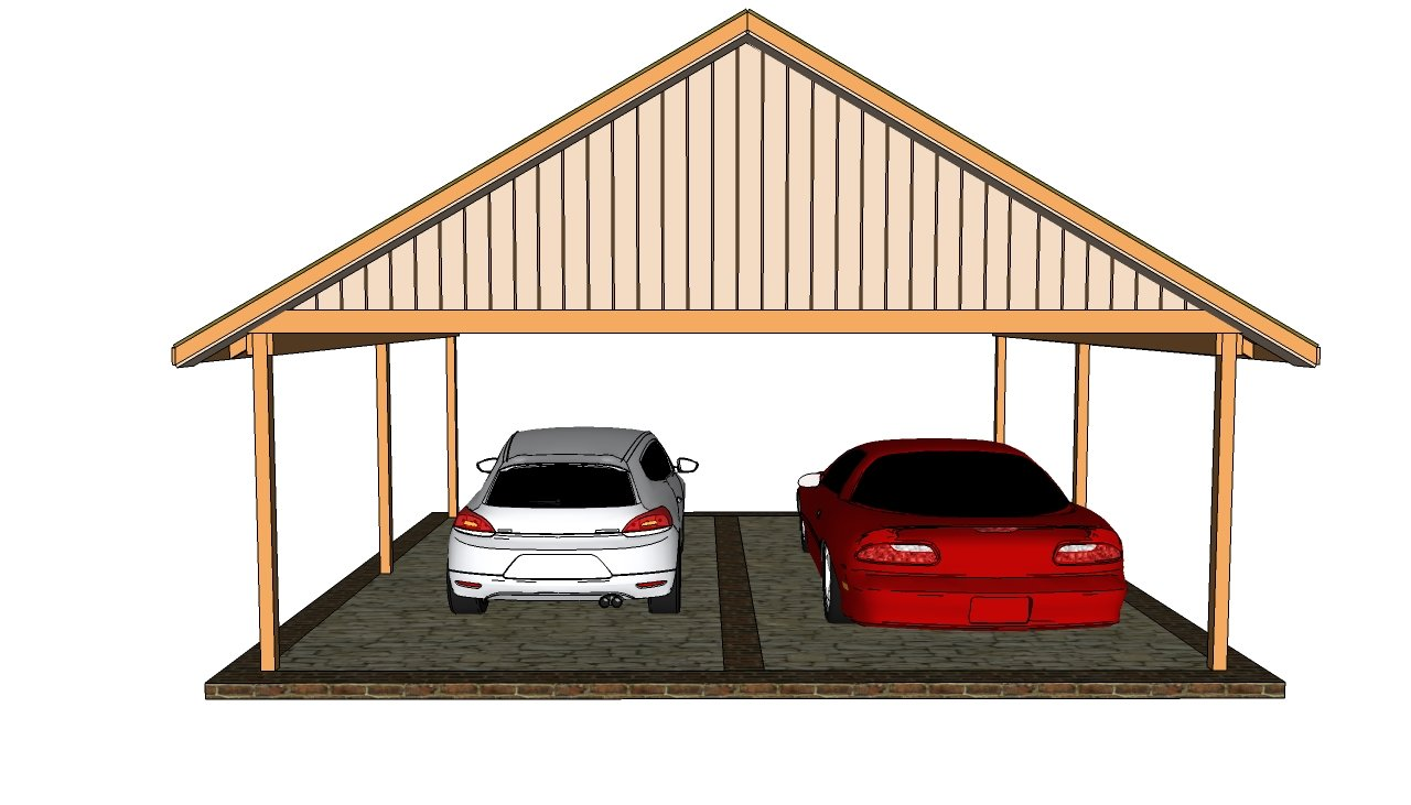 attached double carport plans