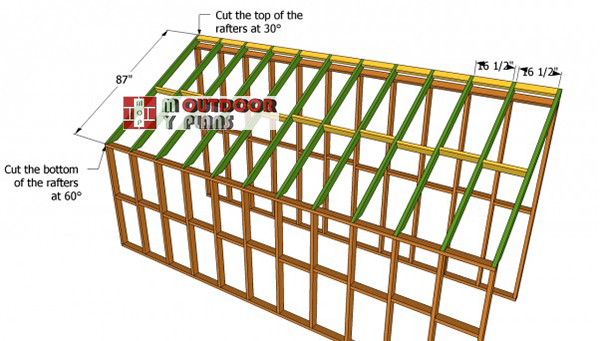 Installing-the-rafters-to-lean-to-greenhouse