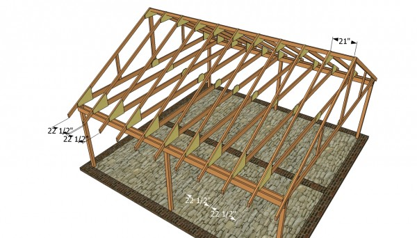 Double carport plans myoutdoorplans free woodworking for Roof trusses installation