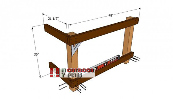 Installing-the-wooden-supports-for-workbench