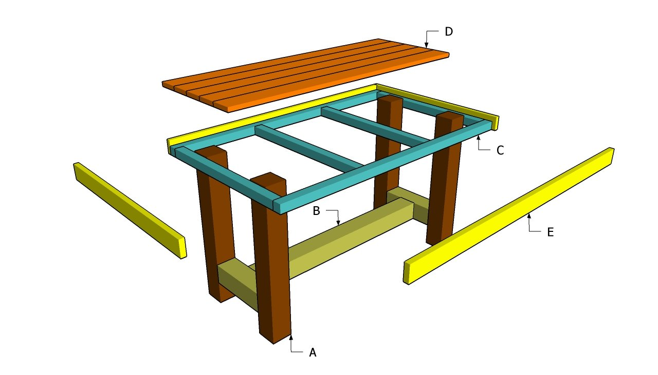 Woodwork diy project wooden table pdf plans for Garden table designs wood