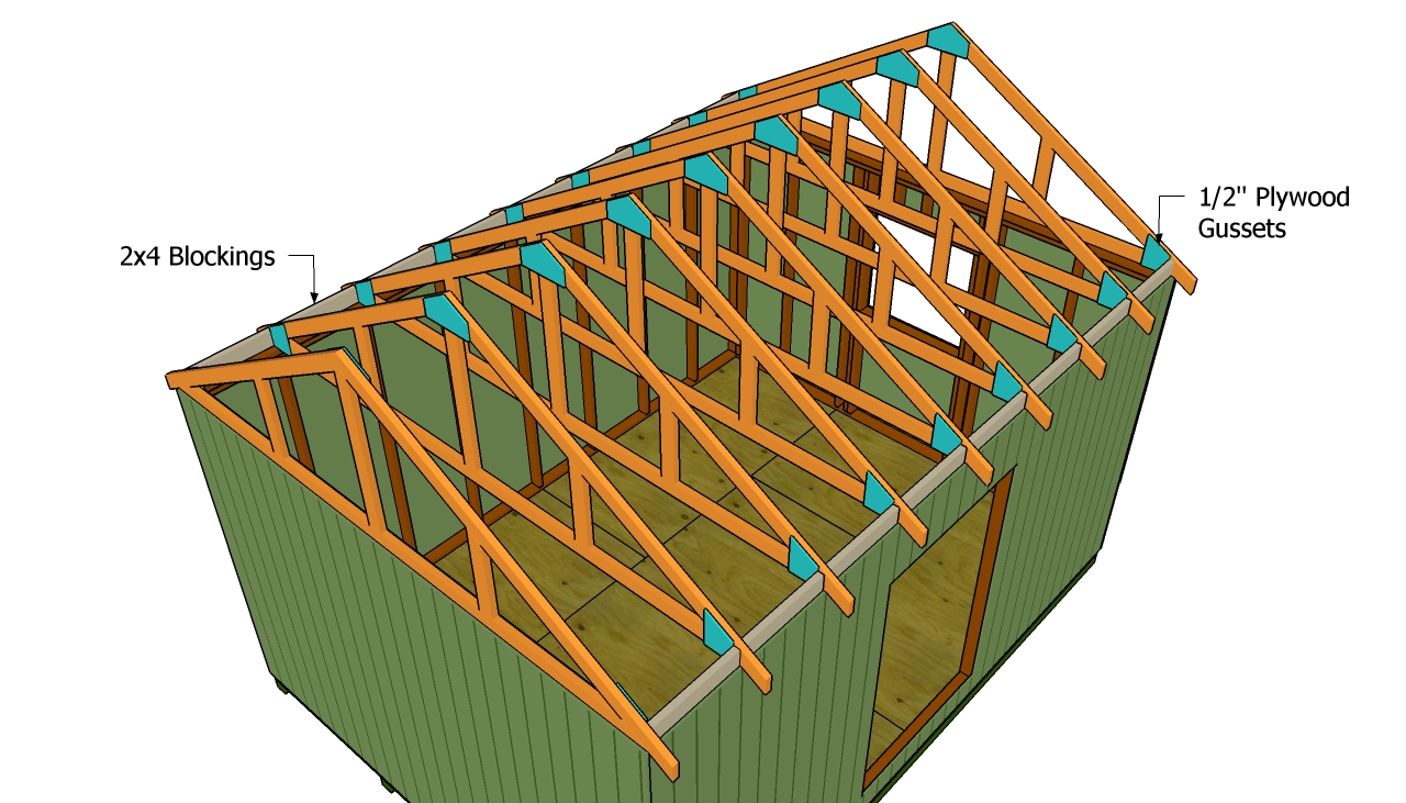 Building a shed roof myoutdoorplans free woodworking for Roof trusses installation