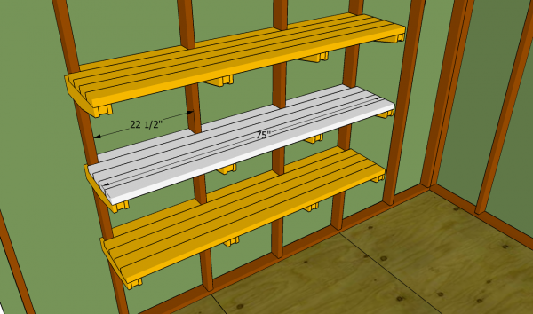 Attaching the shelves slats