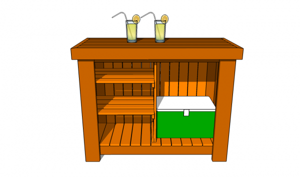 Back view of the bar