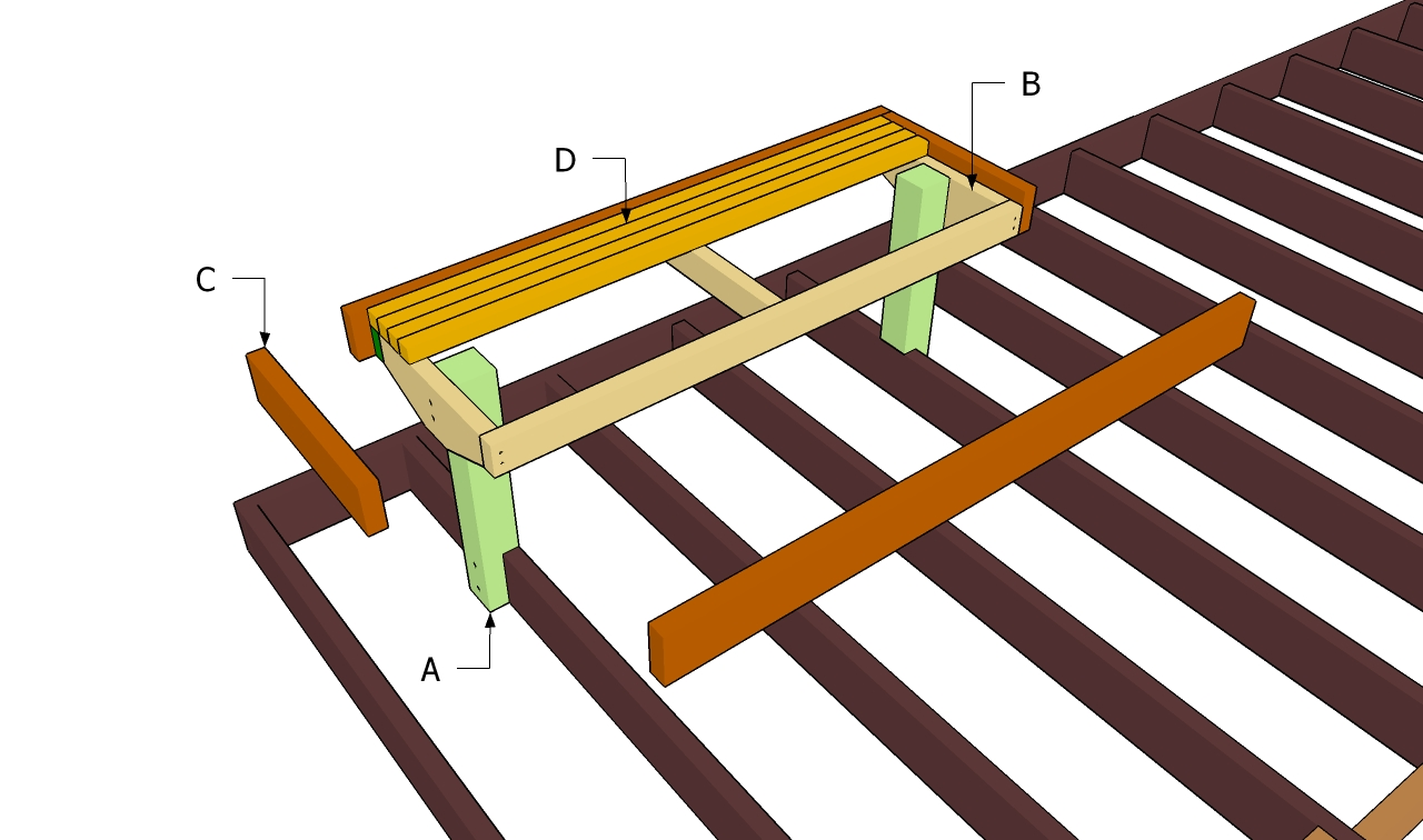 how to build deck bench