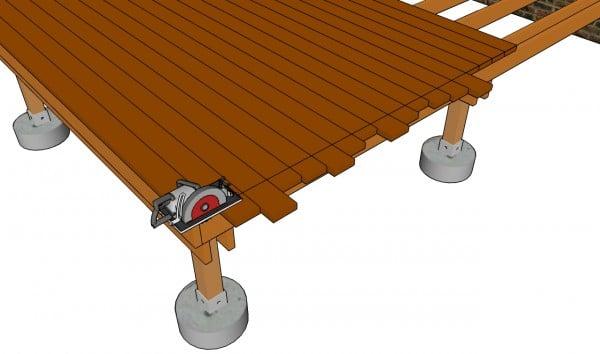 Cutting the decking slats