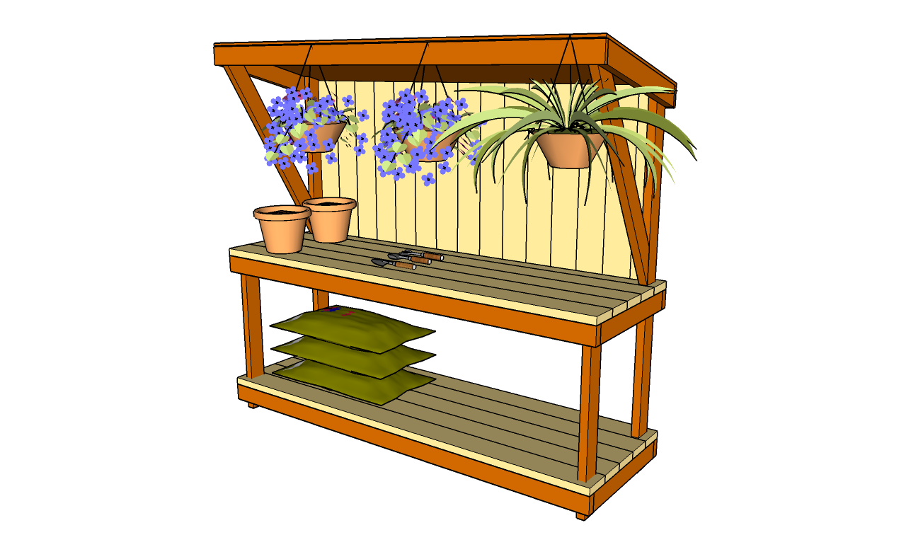 Wonderful Gardening Bench Plans Part - 11: Potting Bench Plans Free · Garden Work Bench Plans