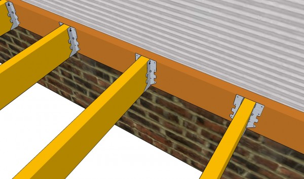 Installing the joists to the ledger