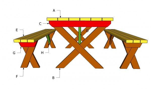 wooden picnic table bench plans