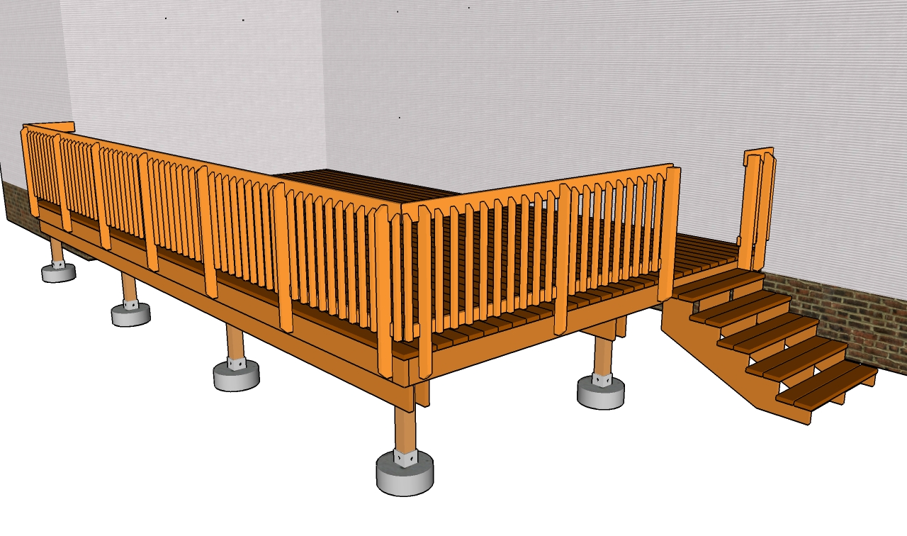 Deck railing plans free outdoor plans diy shed wooden for Outdoor deck plans