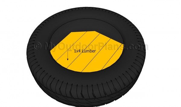 Fitting slats inside the tire