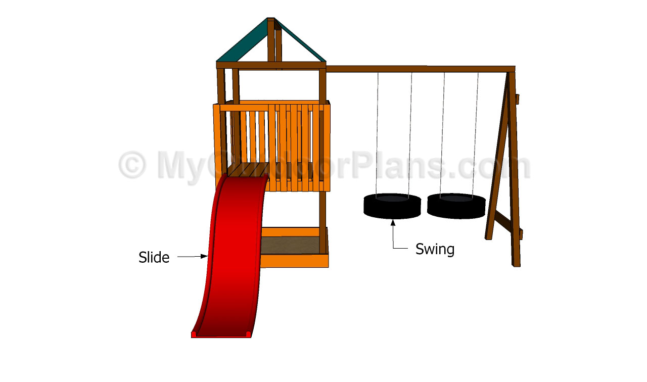 Outdoor playset plans free outdoor plans diy shed for Free playhouse plans with slide
