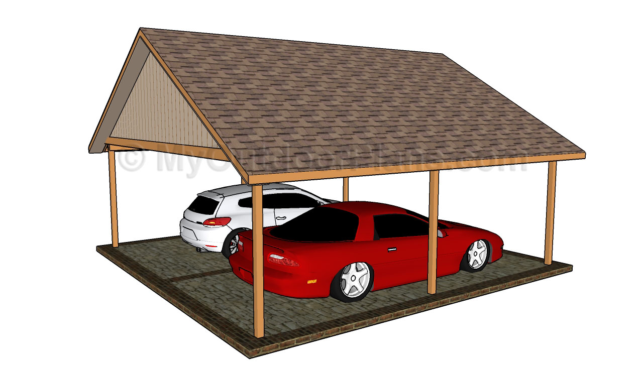 Woodwork double car carport plans pdf plans for Open carport plans