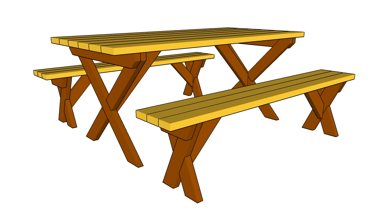 plans for a picnic table and benches | Quick Woodworking ...