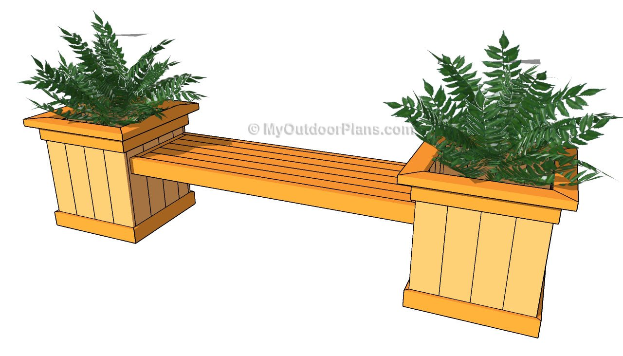 Woodwork planter box bench plans pdf plans for Garden planter plans