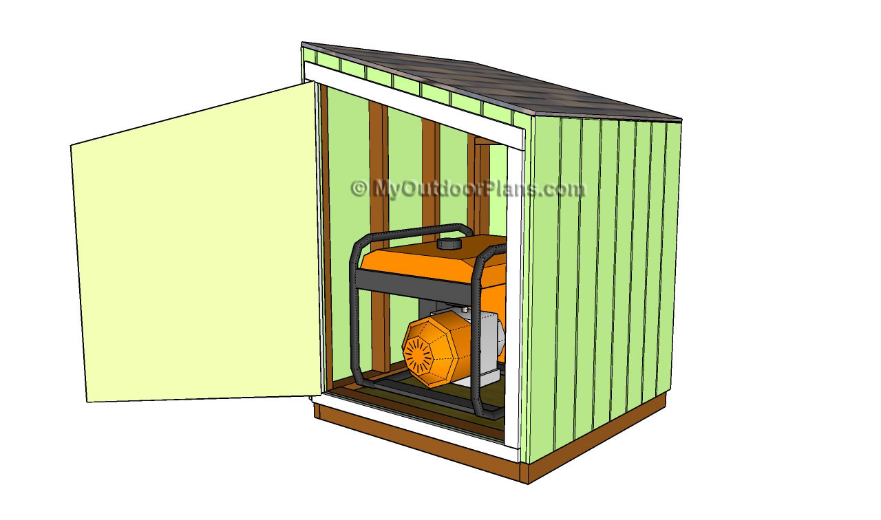 Generator shed door plans free outdoor plans diy shed for Shed design plans