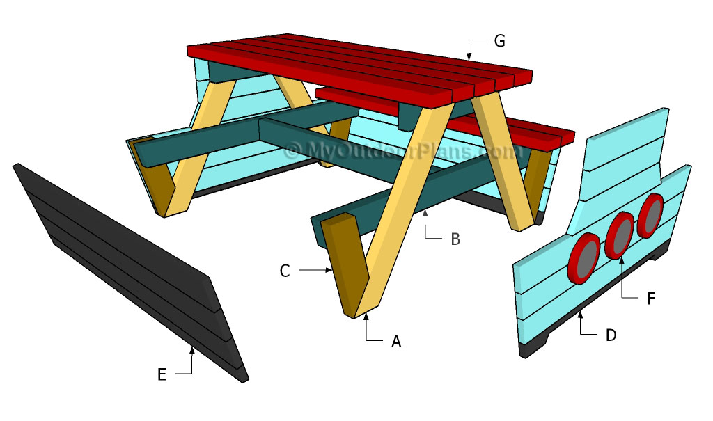 ′ Picnic table plans Pirate Picnic Table Plans Octagon Picnic Table ...