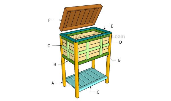 Woodwork wood cooler stand plans pdf plans for Wooden beer cooler plans