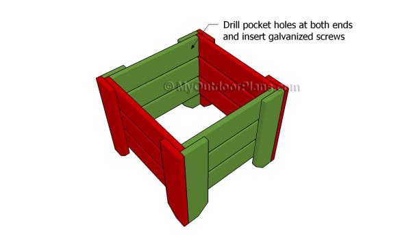 Assembling the frame of the stool