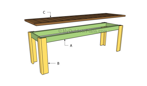 Simple Outdoor Bench Plans | MyOutdoorPlans | Free Woodworking Plans ...