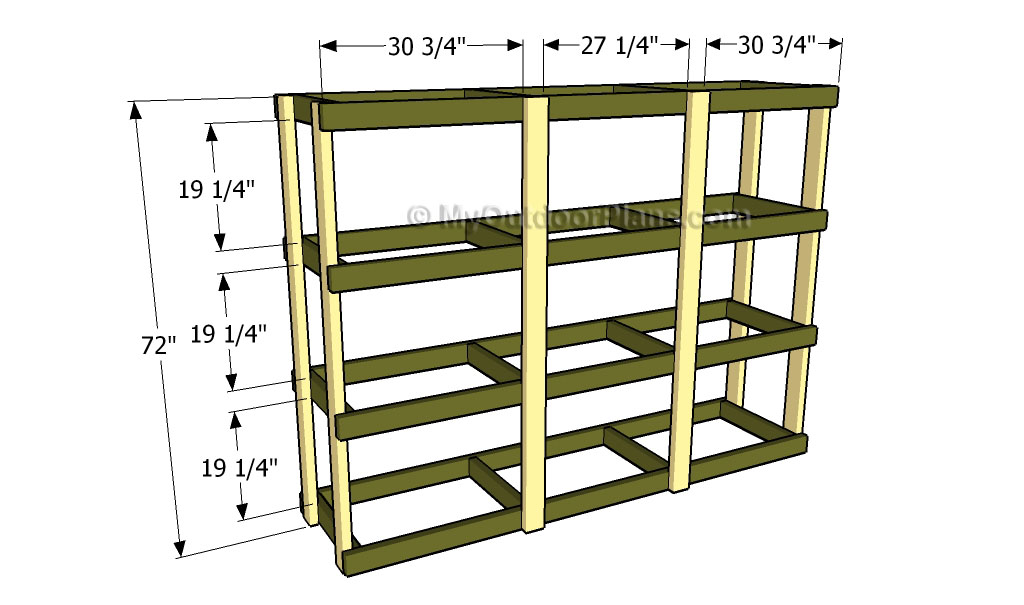 How to build garden shelves free outdoor plans diy for Attaching shelves to plastic shed