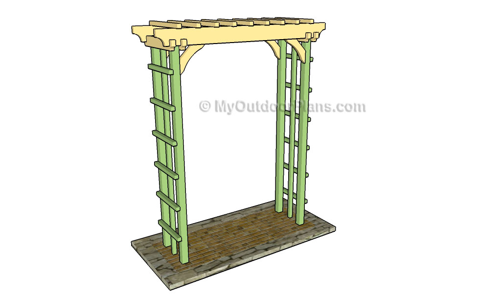 How to build an arbor with bench plans myoutdoorplans for Plans for arbors