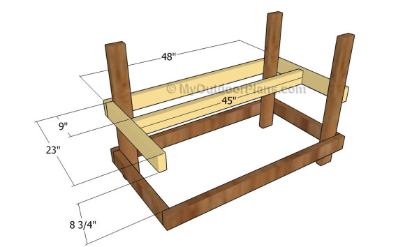 Attaching the frame of the middle shelf