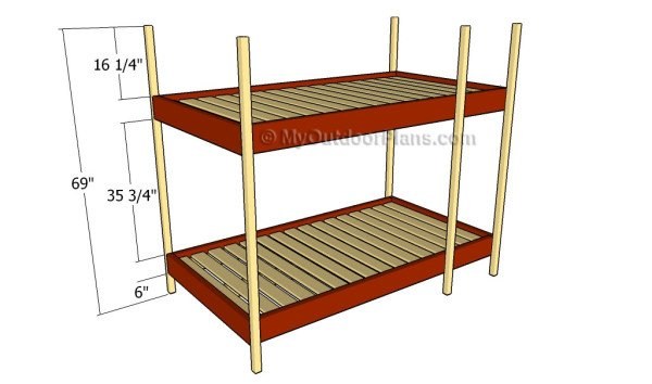 Building the frame of the bunk bed