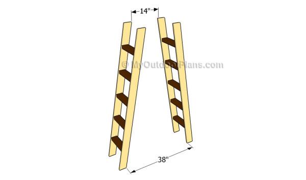 Building the frame of the ladder shelves