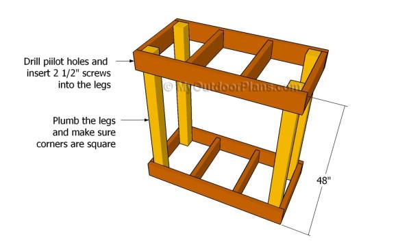 Assembling the frame of the reloading bench