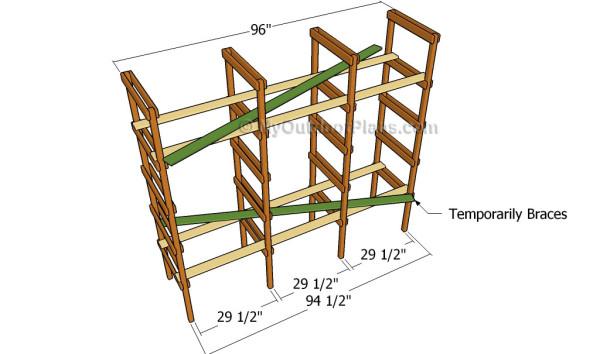 Assembling the frame of the shelves