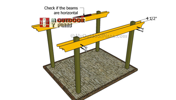Attaching-the-pergola-support-beams